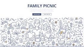 Family Picnic Doodle Concept. Doodle vector illustration of a family having picnic in the city park. Concept of outdoor dining & recreation for web banners, hero royalty free illustration