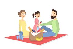 Family at picnic. Isolated parents and daughter on blanket withfood on white background Stock Photos