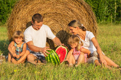 Family on picnic in the field Royalty Free Stock Photo
