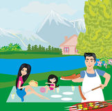 Family picnic. In the garden, Vector Illustration Stock Image
