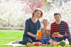 Family picnic. Happy smiling family of three having a picnic outside together, eating sandwiches and fruits royalty free stock photos