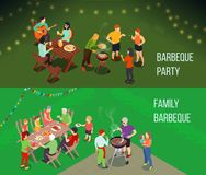 Family Picnic Isometric Banners. Family picnic horizontal isometric banners with people at table, food and drink, grill equipment isolated vector illustration stock illustration