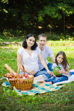 Family picnic at a meadow Royalty Free Stock Photo