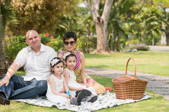 Family picnic. Mixed-race family having picnic in the park stock images