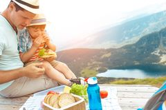 Family on a picnic in the mountains Stock Photos