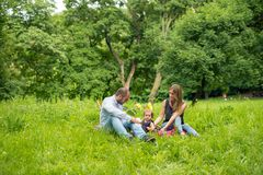 Family picnic in nature stock images