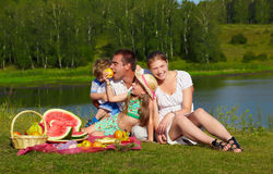 Family picnic in park Royalty Free Stock Photos