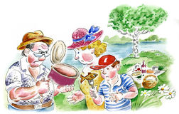 Family picnic on river bank. Comic illustration Royalty Free Stock Photos