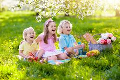 Family picnic in spring park. Kids eating outdoors. Family picnic in spring park with blooming cherry trees. Kids eating fruit and bread lunch outdoors in stock photos