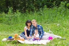 Family on picnic at sunny day stock image
