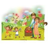family on a picnic. Vector illustration decorative design