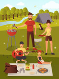 Family picnic vector illustration in flat style. Family picnic vector illustration. Bbq party. Summer vacations, summer holiday, weekend concept design element Royalty Free Stock Photo