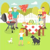 Family picnic vector illustration in flat style Royalty Free Stock Image