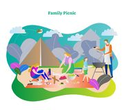 Family picnic vector illustration. Happy family together with mother, father, son, daughter and dog in camping trip weekend. Royalty Free Stock Image