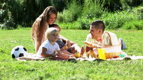family with picnic stock footage