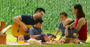 Family picnicking and playing guitar at park stock video