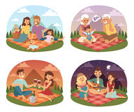 Family picnicking summer happy lifestyle park outdoors together, enjoying meadow vacation character vector. Royalty Free Stock Photography