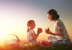 Family picnicking together Royalty Free Stock Photos
