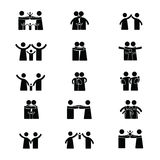 Family pictogram. Simple black pictograms showing figures happy family Royalty Free Stock Photo