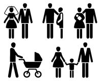 Family pictogrammes. Married couple pictogrammes: wedding, pregnancy, children Stock Photos