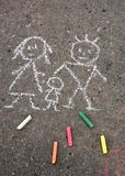 Family. Picture on asphalt Stock Images
