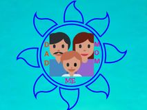 A family picture,  three person, vector. A family picture, three person, vector. Background, Bright background, Pest color background. Blue color flower arts vector illustration