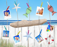Family Pictures And Objects Hanging By The Beach Royalty Free Stock Photography