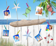 Family Pictures and Objects Hanging by the Beach Stock Image