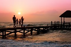 Family, Pier, Man, Woman, Children Royalty Free Stock Photography