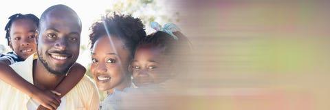 Family piggy back outside motion blur transition stock images