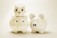 Family of piggy banks Stock Photography