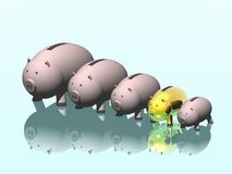 Family of pigs. 2007. Piggy bank. Stock Photos