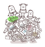 Family on a pile of garbage Stock Photo