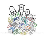 Family on a pile of garbage. Hand drawn cartoon characters Stock Photos