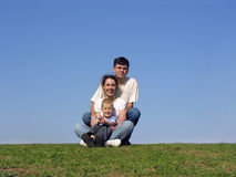 Family piramide. meadow stock photography