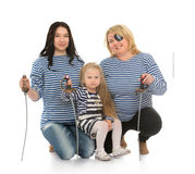 Family pirate costumes stock image