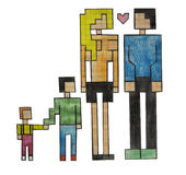 A family of pixel Royalty Free Stock Image