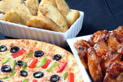 Family pizza combo Royalty Free Stock Photos