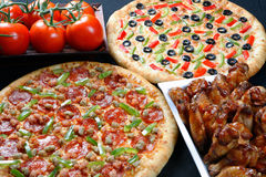 Family pizza combo Stock Photo