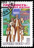 Family and places of entertainment, Anti-Alcoholism Campaign serie, circa 1985. MOSCOW, RUSSIA - MAY 25, 2019: Postage stamp printed in Soviet Union (Russia) stock images