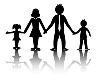 Family plan. A illusration of black and white silhouettes of family Stock Images