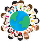 Family and planet earth. Happy and Family holding hands around a globe of the world Stock Image