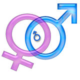 Family planning. Pink and blue sex symbols entwined and expecting Royalty Free Stock Photo