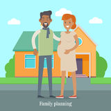 Family Planning Banner. Man and Woman Expect Baby. Family planning banner. Man and woman expecting baby. Young family. Pregnant woman, pregnancy female belly Stock Images