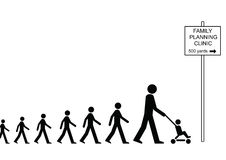 Family Planning Clinic. Mother and many children on way to family planning clinic Vector Illustration