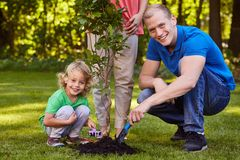 Family planting a tree. Happy family planting a tree together in the garden stock photo