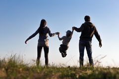 Family play on background sky stock image