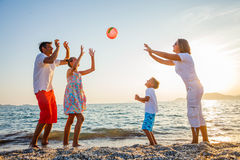 Family play on beach Royalty Free Stock Images