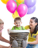 Family play at birthday party and playing with son Royalty Free Stock Images