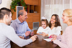 Family play in bridge Royalty Free Stock Images